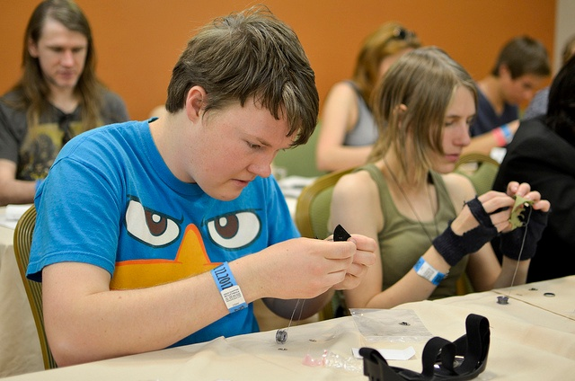 students creating a wearables project