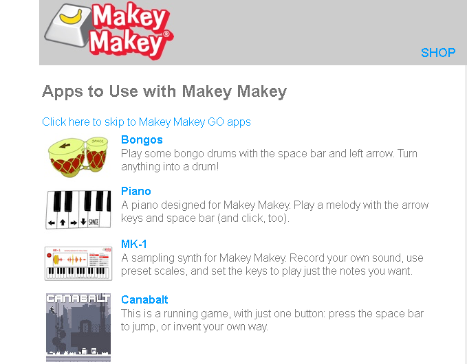Apps to use with Makey Makey