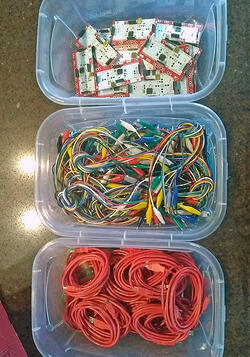 Makey Makey materials in totes