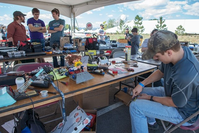 Student teams refining thier builds at AVC