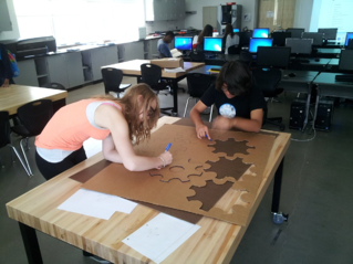 students working on robotics project