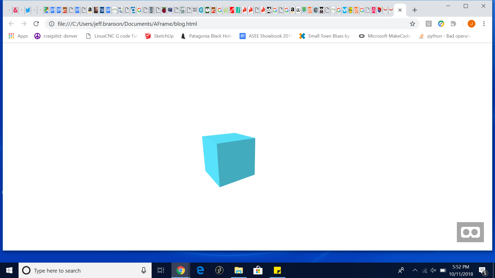 block created in A-Frame