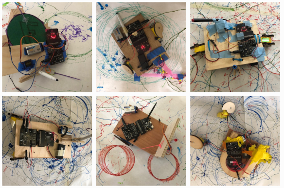 educator created drawing bots with micro:bit and SparkFun moto:bit