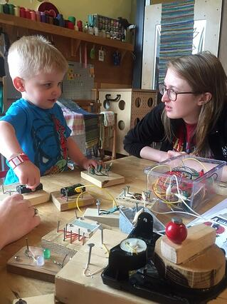 child with circuit blocks