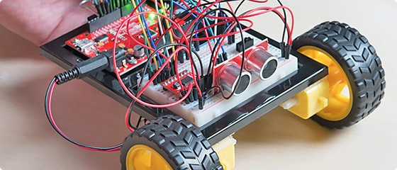 robot made using parts from SparkFun Inventor's Kit