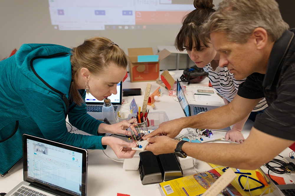 Teachers learning to use micro:bit