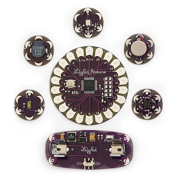 The first commercially available LilyPad Arduino kit from SparkFun