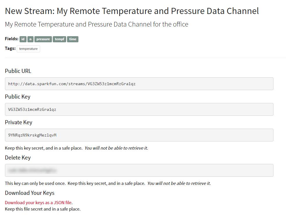Remote Temperature and Pressure Data Channel