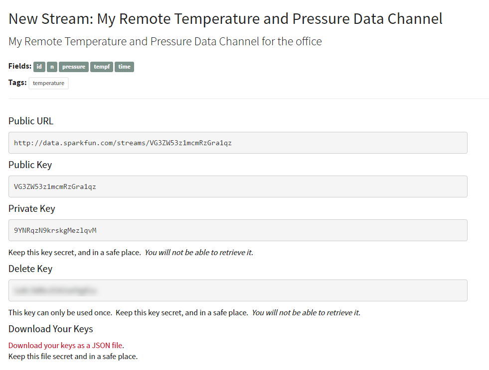Remote Temperature and Pressure Data Channel