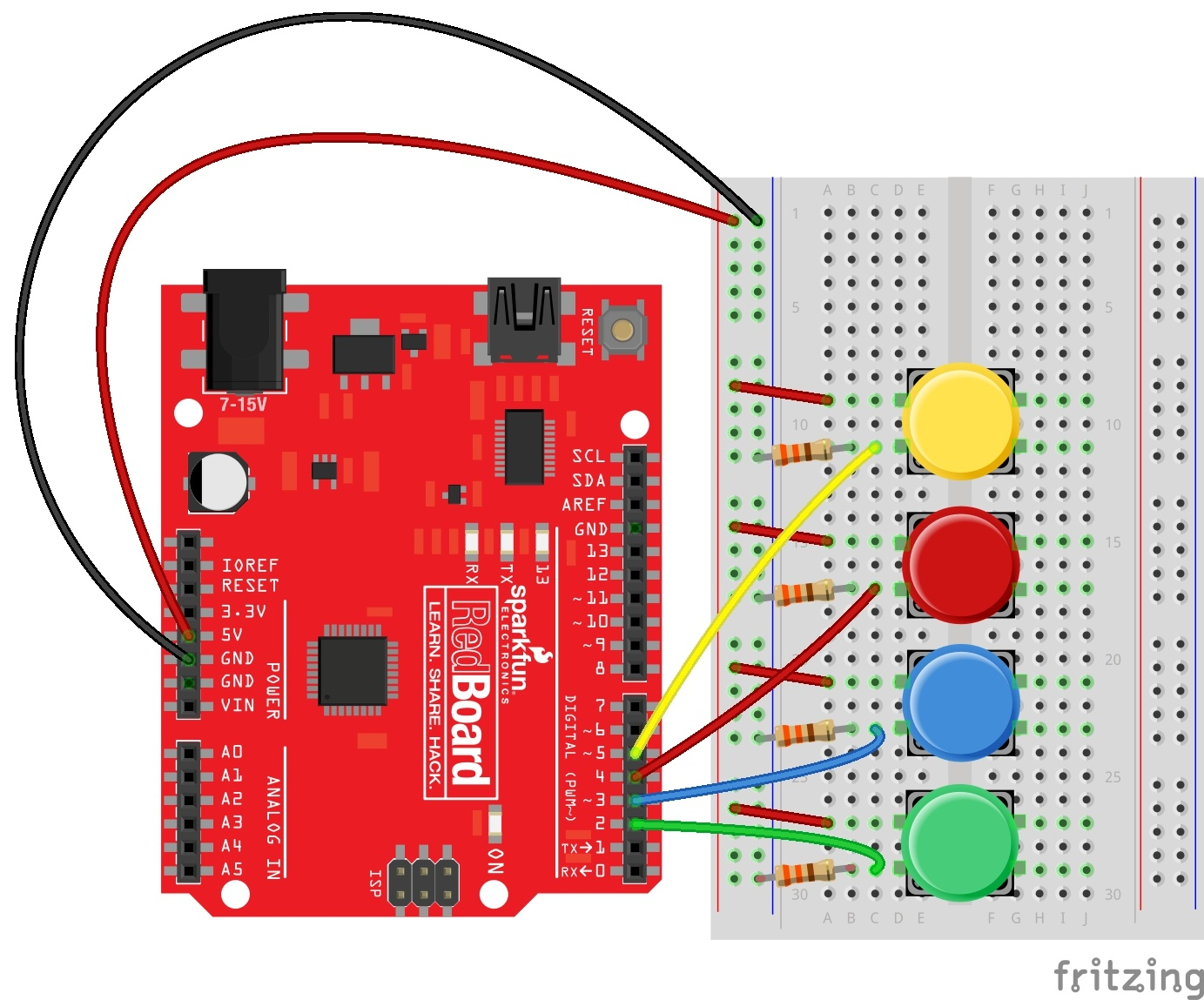 wiring diagram for SparkFun Inventor's Kit vote counter