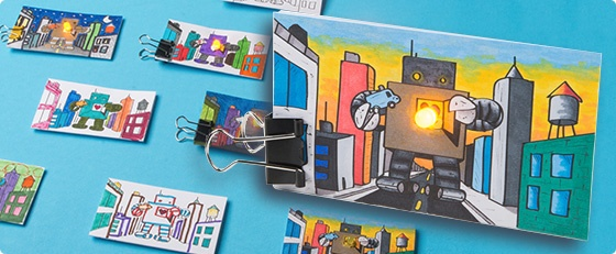 Paper Circuit Kit from SparkFun with colored in robots